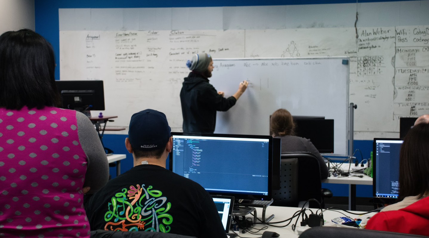 A session from a Coding Dojo coding bootcamp.