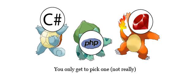 C# versus PHP versus Ruby.